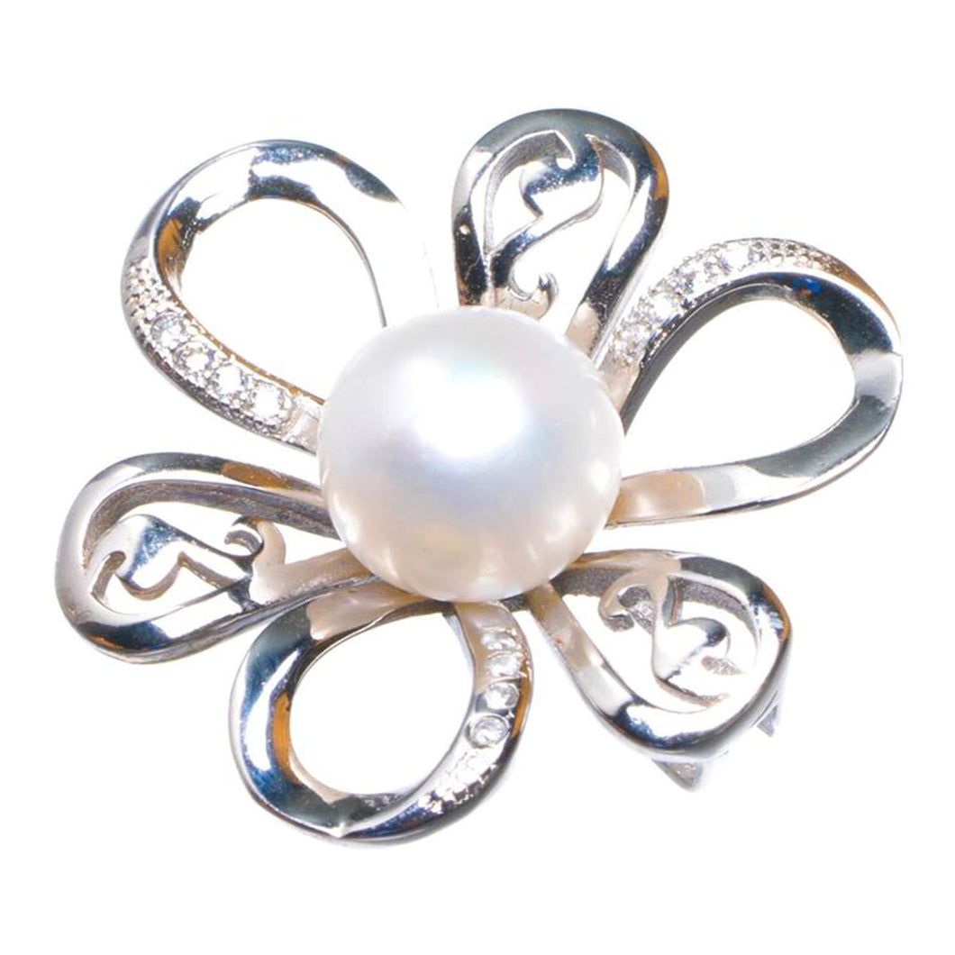 Natural Pearl And Zircon Flower Handmade 925 Sterling Silver Pendant 1