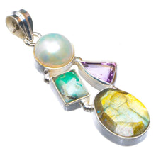 "Natural Blue Fire Labradorite,River Pearl,Amethyst And Turquoise Handmade 925 Sterling Silver Pendant 2"" D1667"