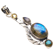 "Natural Blue Fire Labradorite And Citrine Handmade 925 Sterling Silver Pendant 2.25"" D2471"