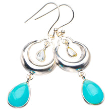"Natural Chalcedony And White Toapz Moon Handmade 925 Sterling Silver Earrings 2"" D3729"