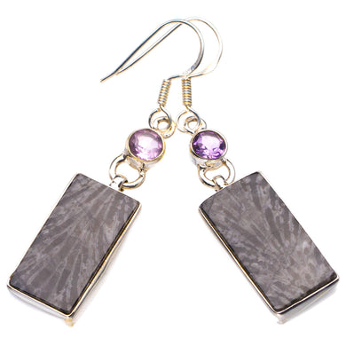StarGems Natural Stingray Coral And Amethyst Handmade 925 Sterling Silver Earrings 2
