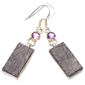"StarGems Natural Stingray Coral And Amethyst Handmade 925 Sterling Silver Earrings 2"" D4013"