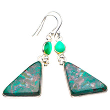 "StarGems Natural Chrysocolla And Chrysoprase Handmade 925 Sterling Silver Earrings 2"" D4028"