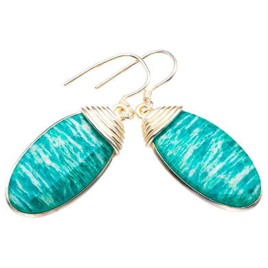 StarGems Natural Amazonite Handmade 925 Sterling Silver Earrings 1.75