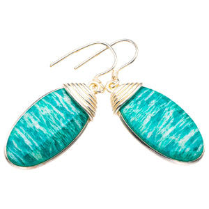 "StarGems Natural Amazonite Handmade 925 Sterling Silver Earrings 1.75"" D4055"