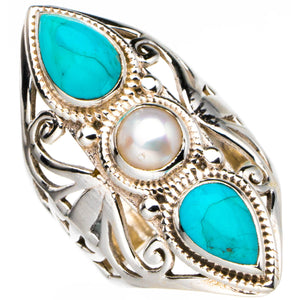 StarGems Natural Turquoise And River Pearl Handmade 925 Sterling Silver Ring 5.75 D4304