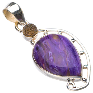 "StarGems Natural Charoite And Titanium Handmade 925 Sterling Silver Pendant 1.75"" D5538"