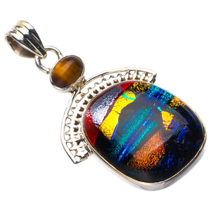 "StarGems Natural Rainbow Dichroic Glass And Tiger Eye Handmade 925 Sterling Silver Pendant 1.75"" D5902"