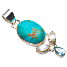 "StarGems Natural Turquoise,River Pearl And Blue Topaz Handmade 925 Sterling Silver Pendant 1.75"" D5955"