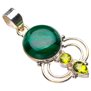 "StarGems Natural Malachite And Peridot Handmade 925 Sterling Silver Pendant 1.57"" D6130"