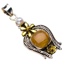 "StarGems Natural Two Tones Golden Rutile And River Pearl Flower Handmade 925 Sterling Silver Pendant 2"" D6352"