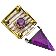 "StarGems Natural Two Fluorite And Amethyst Handmade 925 Sterling Silver Pendant 2"" D6375"