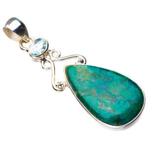 "StarGems Natural Chrysocolla And Blue Topaz Handmade 925 Sterling Silver Pendant 2.25"" D6465"