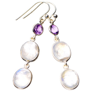 "StarGems Natural Rainbow Moonstone And Amethyst Handmade 925 Sterling Silver Earrings 2"" D7246"