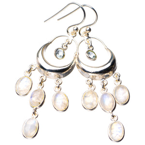 "StarGems Natural Rainbow Moonstone And White Topaz Handmade 925 Sterling Silver Earrings 2.25"" D7270"
