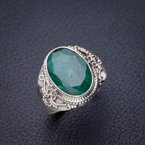 StarGems Natural Emerald Handmade 925 Sterling Silver Ring 8.75 D9082