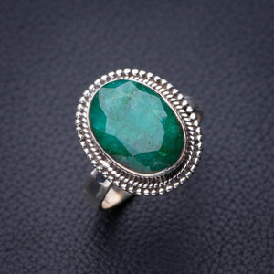 StarGems Natural Emerald Handmade 925 Sterling Silver Ring 7.75 D9084