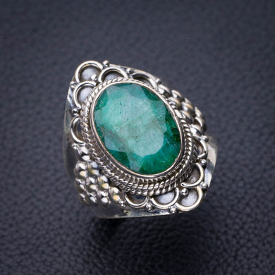 StarGems Natural Emerald Handmade 925 Sterling Silver Ring 8 D9086
