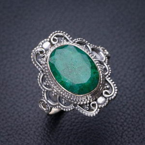StarGems Natural Emerald Handmade 925 Sterling Silver Ring 10.25 D9087