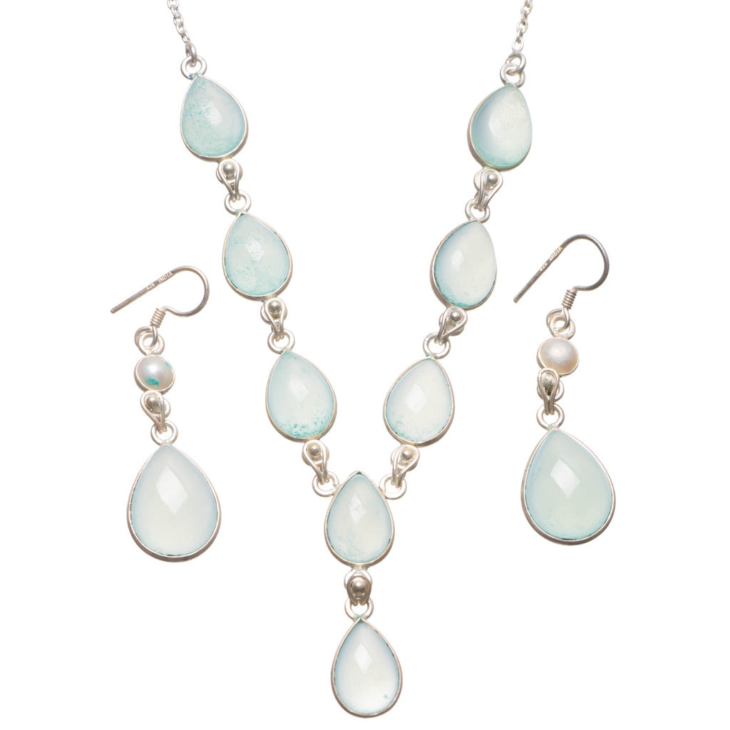 Chalcedony River Pearl Mexican 925 Sterling Silver Jewelry Set, Earrings:2
