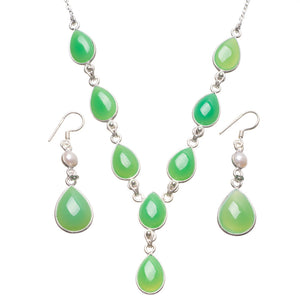 "Chrysoprase River Pearl Indian 925 Sterling Silver Jewelry Set, Earrings:2"" Necklace:18 1/2"" T8787"