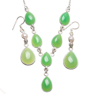 "Chrysoprase River Pearl Indian 925 Sterling Silver Jewelry Set, Earrings:2"" Necklace:16 3/4"" T8802"