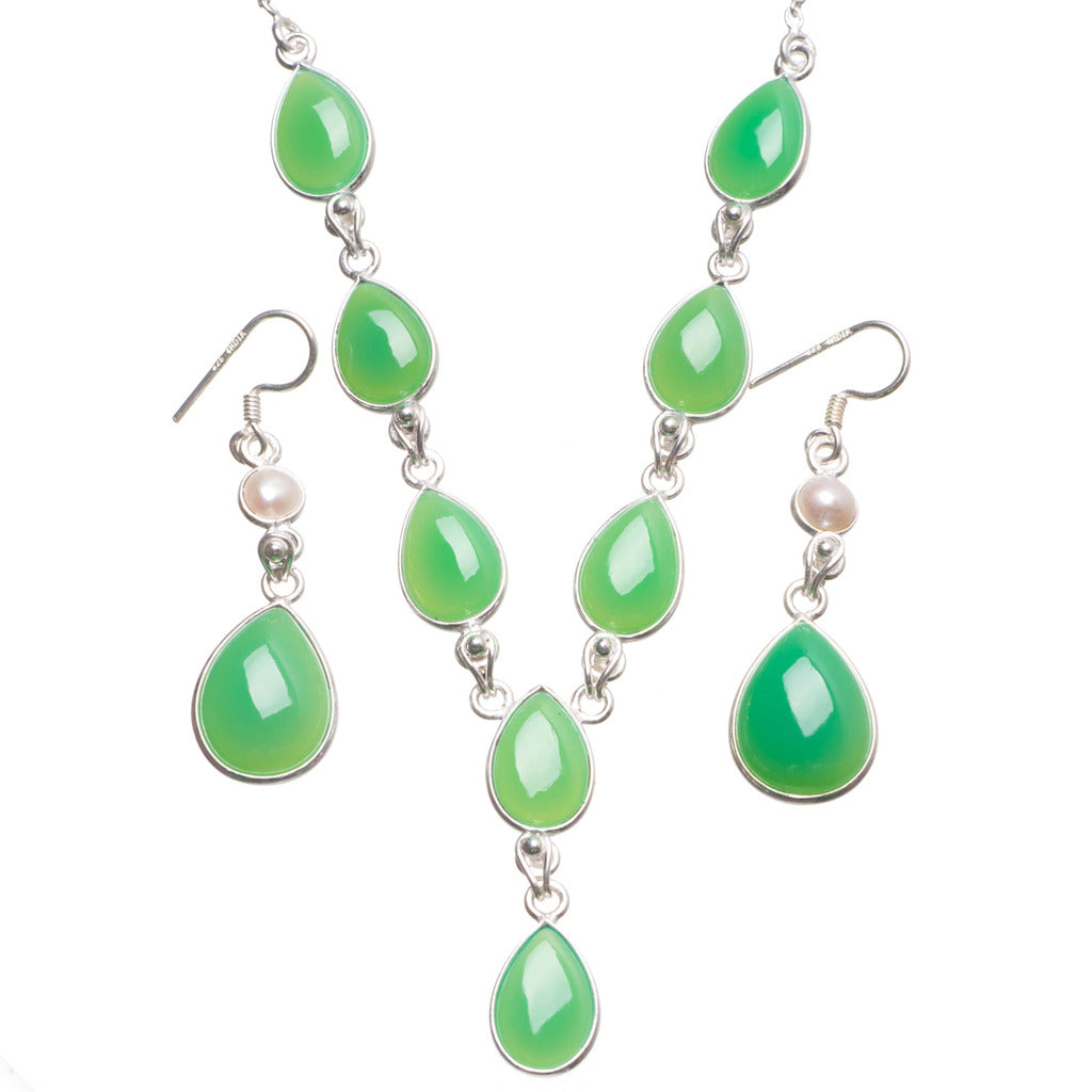 Natural Chrysoprase River Pearl 925 Sterling Silver Jewelry Set, Earrings:2