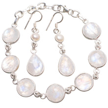 "Rainbow Moonstone Pearl 925Sterling Silver Jewelry Set, Earrings:1 3/4"" Bracelet:6 1/2-7 1/2"" T8843"