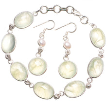 "Natural Prehnite Pearl Boho 925 Sterling Silver Jewelry Set, Earrings:1 1/2"" Bracelet:7 1/2-8 1/4"" T8844"