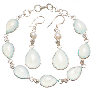 "Chalcedony River Pearl Indian 925 Sterling Silver Jewelry Set, Earrings:2"" Bracelet:7 1/4-8"" T8847"
