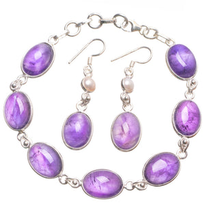 "Amethyst Pearl Mexican 925 Sterling Silver Jewelry Set, Earrings:1 3/4"" Bracelet:7 1/2-8 1/4"" T8856"