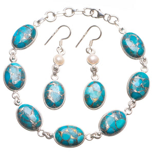 "Natural Variscite Pearl 925 Sterling Silver Jewelry Set, Earrings:1 3/4"" Bracelet:7 1/2-8 1/4"" T8858"
