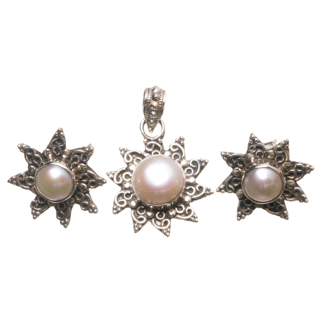 Natural River Pearl Boho 925 Sterling Silver Jewelry Set, Earrings Stud:3/4