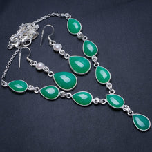 "Natural Chrysoprase River Pearl 925 Sterling Silver Jewelry Set, Earrings:2"" Necklace:18 1/2"" T8821"
