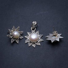 "Natural River Pearl Boho 925 Sterling Silver Jewelry Set, Earrings Stud:3/4"" Pendant:1 1/4"" T8874"