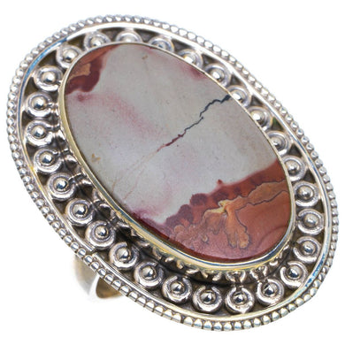 Natural Spot Jasper Unique Design 925 Sterling Silver Ring US Size 7.75 M1038