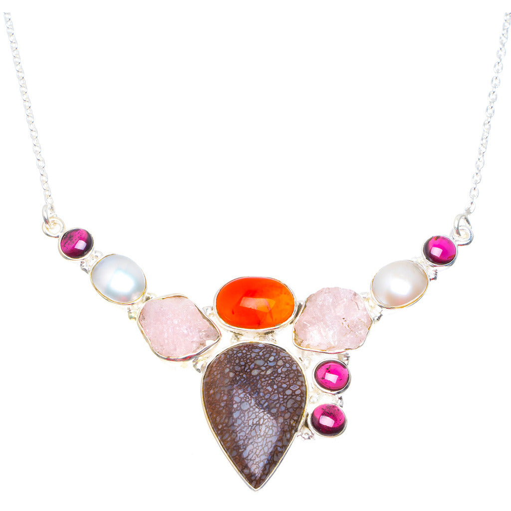 Natural Jasper,Carnelian,Rose Quartz,River Pearl&Amethyst 925 Sterling Silver Necklace 18.5