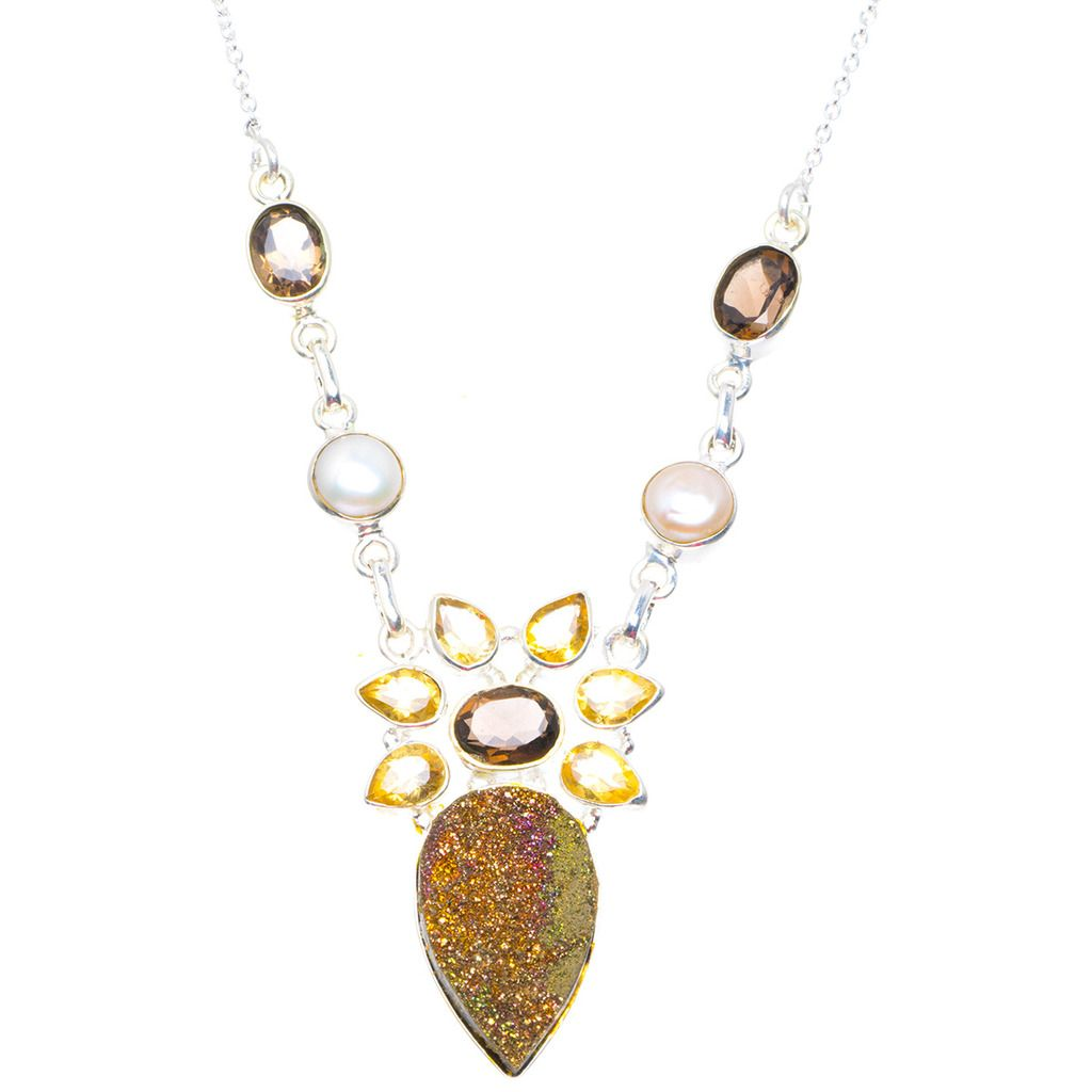 Natural Titanium,Smoky Quartz,Crtrine And River Pearl 925 Silver Necklace 18.75