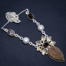 "Natural Titanium,Smoky Quartz,Crtrine And River Pearl 925 Silver Necklace 18.75"" M1476"
