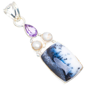 "Natural Dendritic Opal,River Pearl&Amethyst Handmade Unique 925 Sterling Silver Pendant 2"" C5"