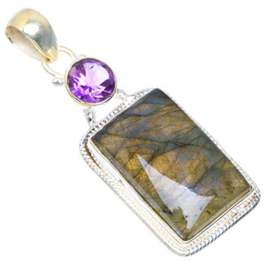 "Natural Blue Fire Labradorite and Amethyst Handmade Unique 925 Sterling Silver Pendant 2"" D69"