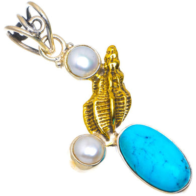Natural Two Tones Turquoise and River Pearl Handmade Unique 925 Sterling Silver Pendant 1.75