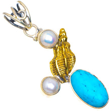"Natural Two Tones Turquoise and River Pearl Handmade Unique 925 Sterling Silver Pendant 1.75"" D99"