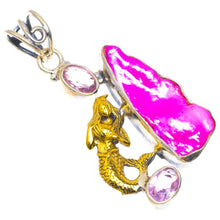 "Natural Biwa Pearl and Pink Topaz Unique Design 925 Sterling Silver Pendant 2"" D154"