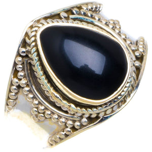 "Natural Black Onyx Handmade Unique 925 Sterling Silver Ring 9.5"" D384"
