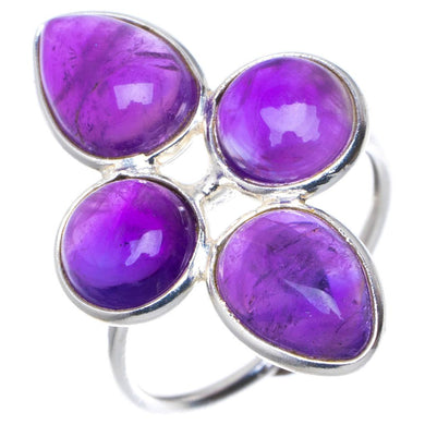 Natural Amethyst Unique Design 925 Sterling Silver Ring US Size 6 K000