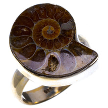 "Natural Two Tones Ammonite Fossil and Smoky Quartz 925 Sterling Silver Bracelet 6 1/4-8"" Y0103"