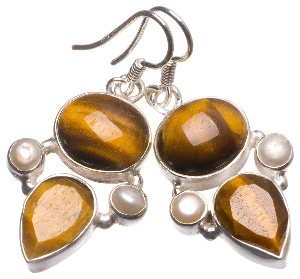 Natural Tiger Eye and River Pearl Handmade Unique 925 Sterling Silver Earrings 1.5