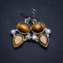 "Natural Tiger Eye and River Pearl Handmade Unique 925 Sterling Silver Earrings 1.5"" U0991"