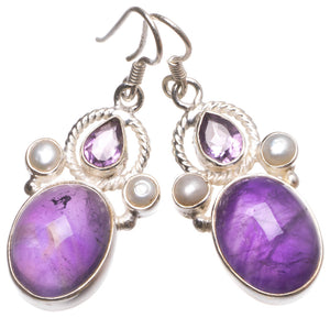 "Natural Amethyst and River Pearl Handmade Indian 925 Sterling Silver Earrings 1 1/2"" U1182"
